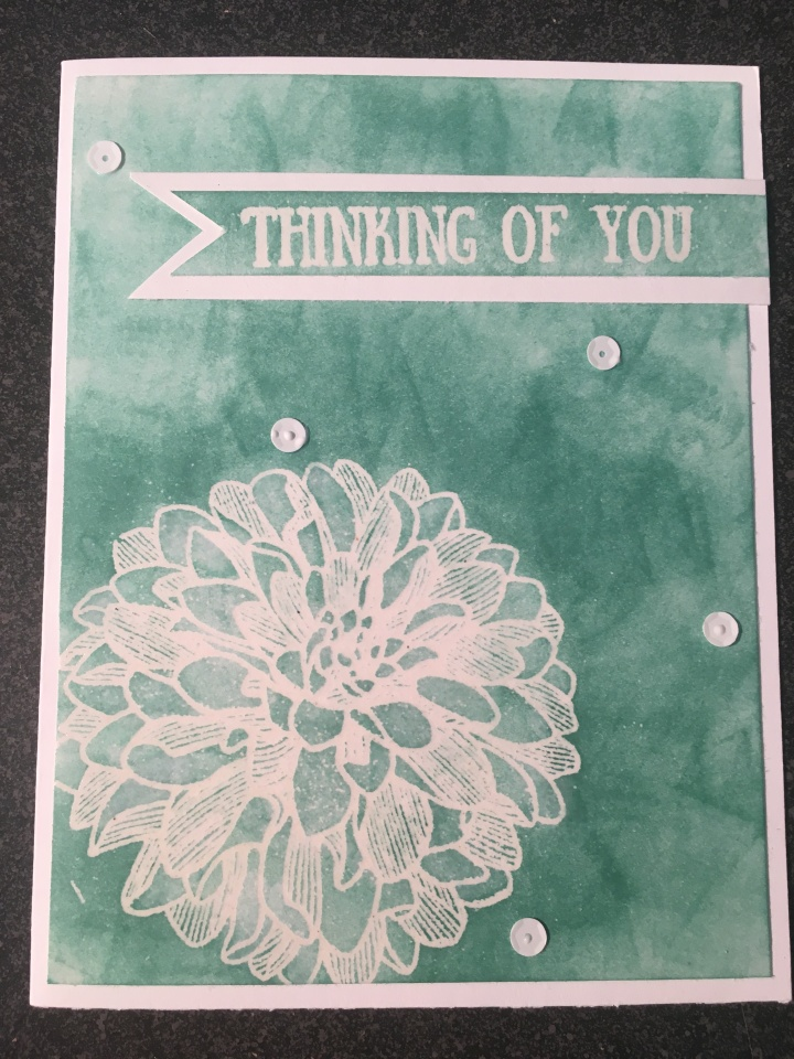 Embossed Dahlia Stamp Ink Resist Card