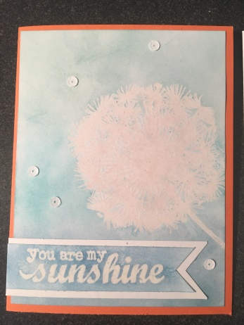 Embossed Dandelion Stamp Ink Resist Card