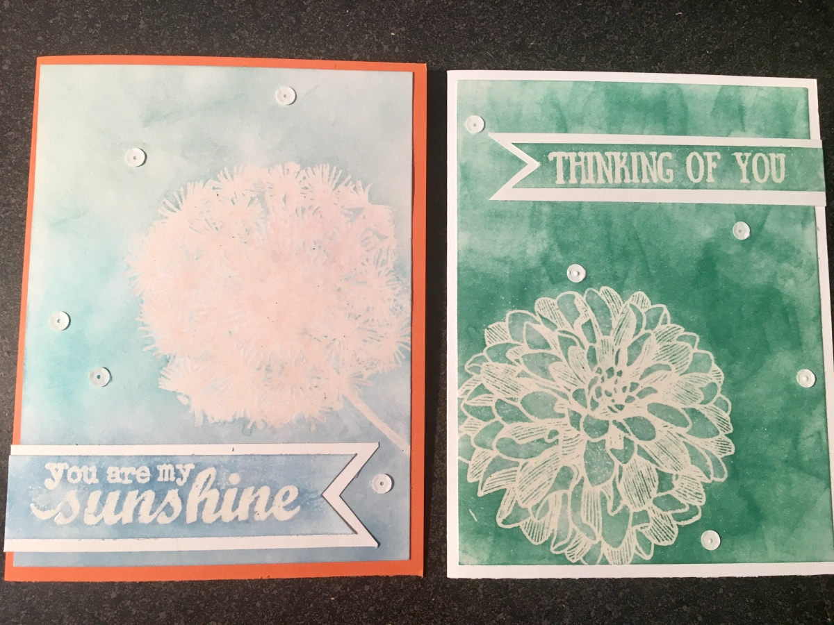 Embossed Stamp Resist Cards