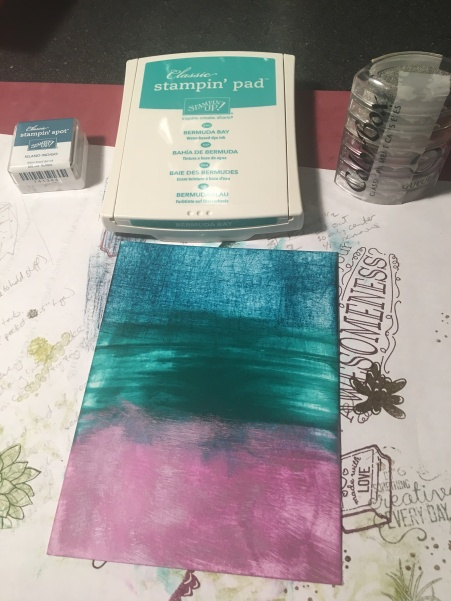 Aqua Ombre Ink Pad Draggings