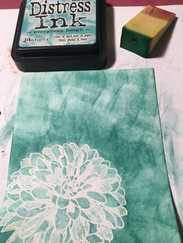 sponge color over embossed dahlia stamped image