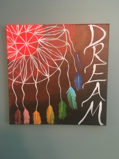 A painted canvas featuring a dreamcatcher with rainbow feathers. Included in the post are tips for anyone trying a new craft.
