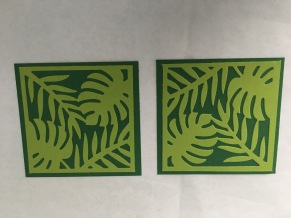 tropical chic die cut from granny apple green and adhered to shaded spruce square