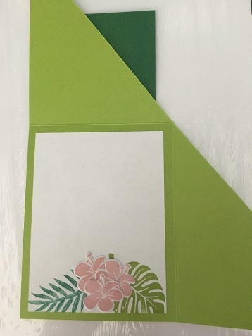 Tropical Chic Fun Fold Card Inside with fronds and flowers