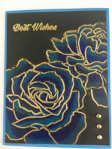 Manhattan Flower Rose Best Wishes card embossing folder gold embossed blue prismacolors