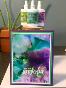 thank you card made using cool colors watercolor powders