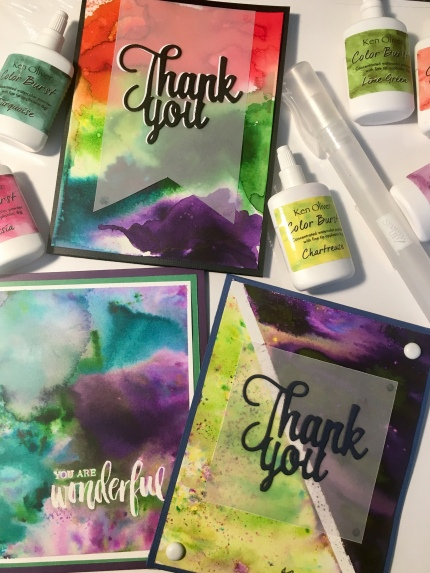 group of thank you cards made using watercolor powders