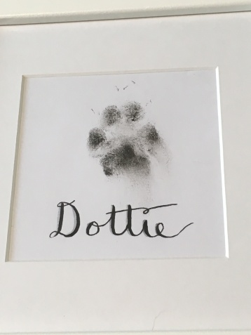 Framed puppy print with Calligraphy name