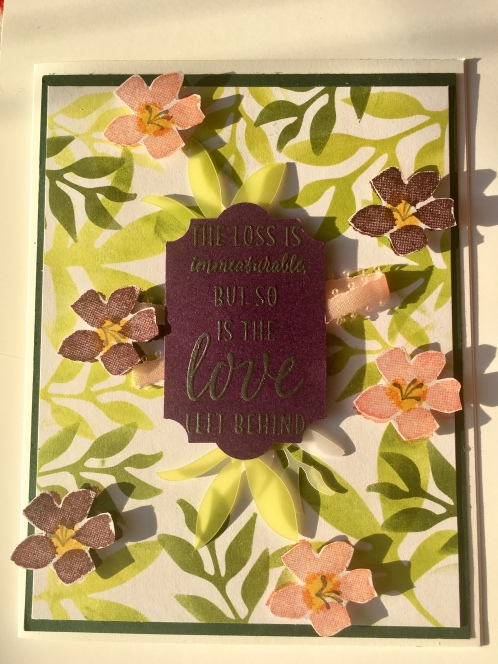 alternative sympathy card using aug 2018 paper pumpkin blissful blooms kit