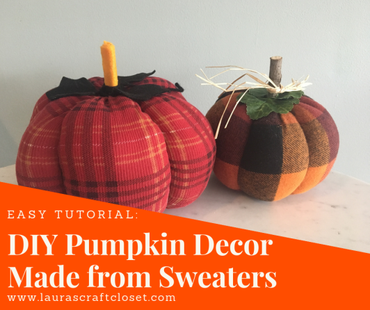 DIY pumpkins made from sweaters