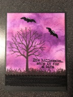 purple halloween card with sheltering tree stamp