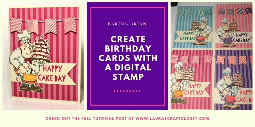 birthday card baking brian digital stamp