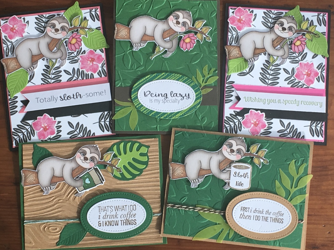 group of sloth cards